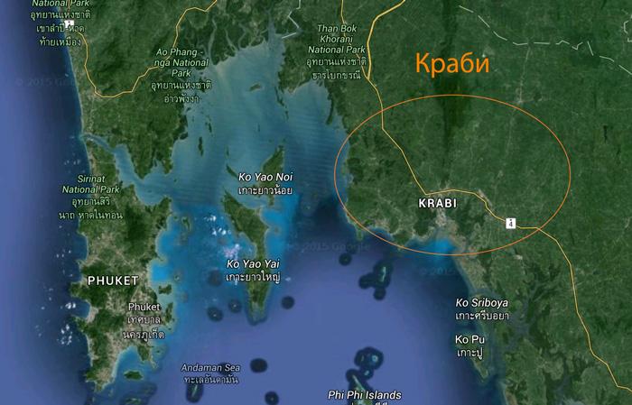 Провинция Краби на карте